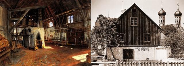 Histórica fábrica de vidrio delante de las torres del monasterio en Benediktbeuren