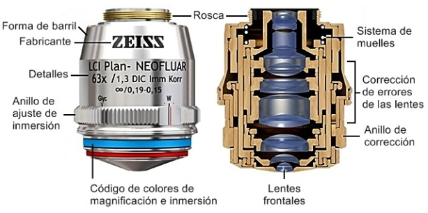 estructura de un objetivo de microscopio