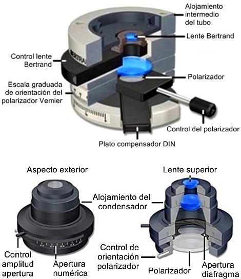 configuración tubo intermedio y condensador-olympuscx31-p