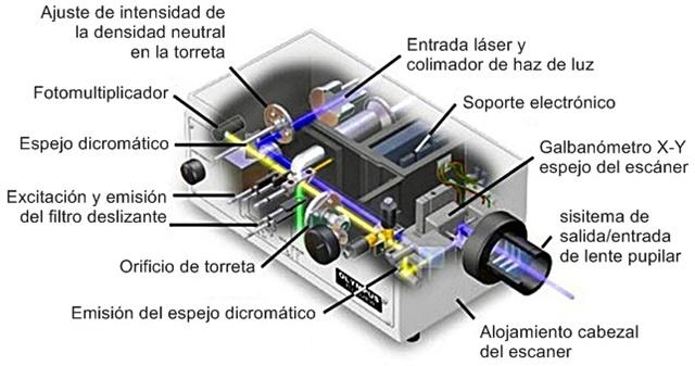 Unidad de escáner de microscopio confocal